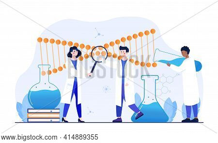 Male And Female Scientists Working With Huge Dna Chain In Lab. Concept Of Gene Therapy, Gene Transfe