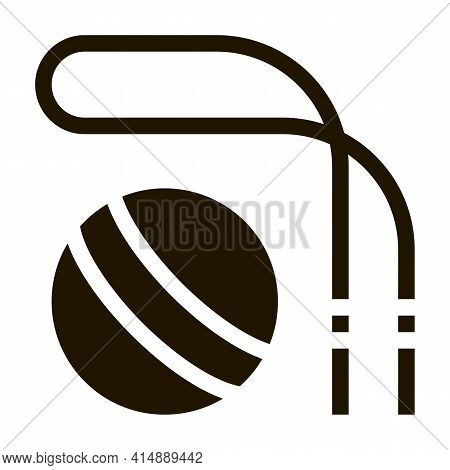 Skipping Rope And Ball Glyph Icon Vector. Skipping Rope And Ball Sign. Isolated Symbol Illustration