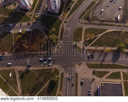 Top View Of The Intersection. Aerial Photography
