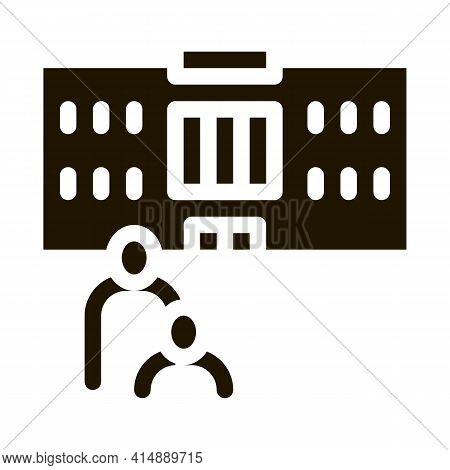 Preschool Building Glyph Icon Vector. Preschool Building Sign. Isolated Symbol Illustration