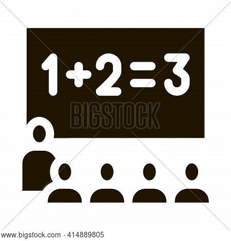 Preschool Class Children Education Mathematics Glyph Icon Vector. Preschool Class Children Education
