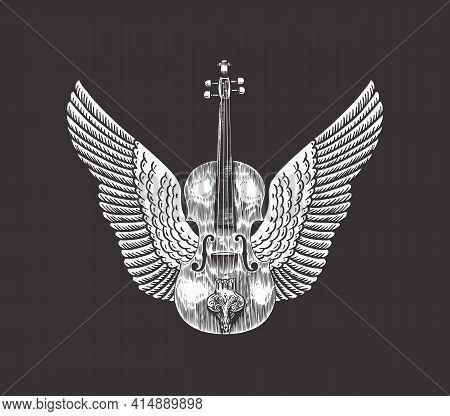 Violin With Wings. Hand Drawn Grunge Sketch With A Tattoo Or T-shirt Or Woodcut. Vintage Vector Illu