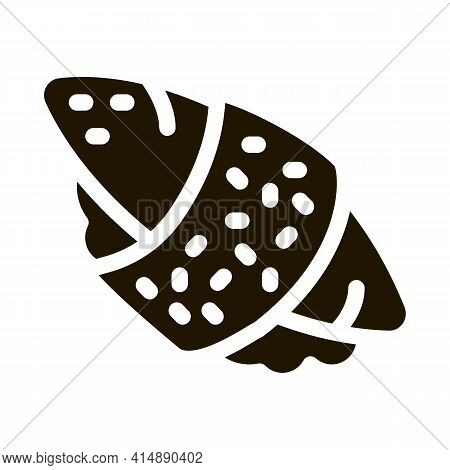 Sushi Roll Rice Fish Meat Glyph Icon Vector. Sushi Roll Rice Fish Meat Sign. Isolated Symbol Illustr