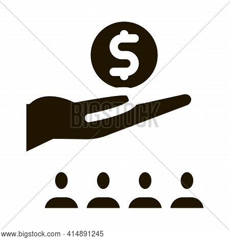 Hand Holding Money Above Human Glyph Icon Vector. Hand Holding Money Above Human Sign. Isolated Symb