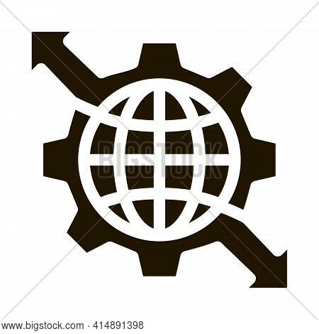 Sphere And Mechanical Gear With Arrows Glyph Icon Vector. Sphere And Mechanical Gear With Arrows Sig