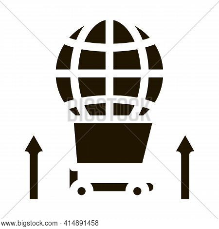 International Selling Partnership Sphere In Market Cart Glyph Icon Vector. International Selling Par