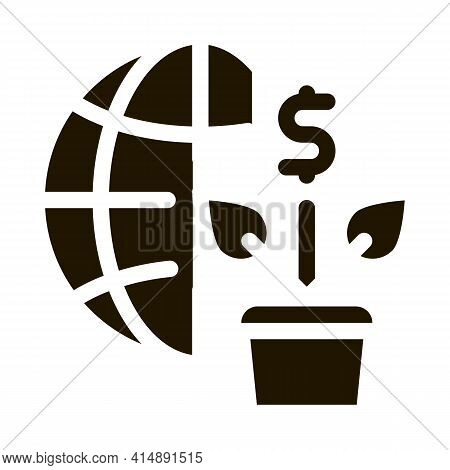 Growth Financial Plant And Sphere Glyph Icon Vector. Growth Financial Plant And Sphere Sign. Isolate