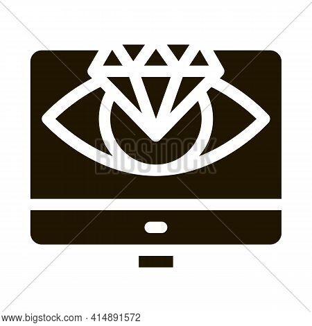 Diamond Vision Computer Screen Glyph Icon Vector. Diamond Vision Computer Screen Sign. Isolated Symb