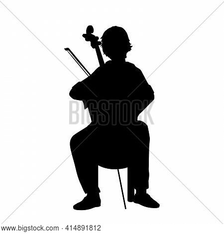 Silhouette Boy Playing Musical Instrument Cello. Illustration Graphics Icon Vector