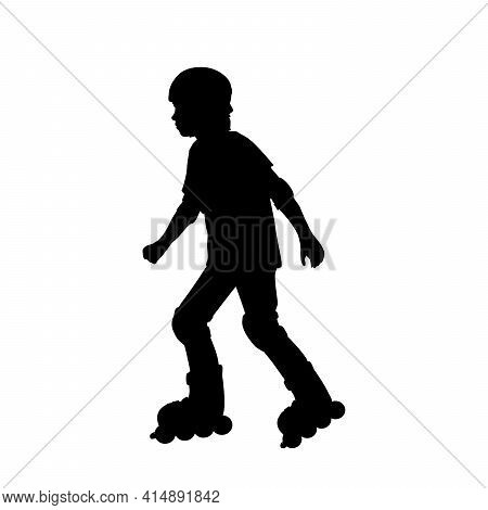 Silhouette Boy Skating On The Rollerblades. Illustration Graphics Icon Vector