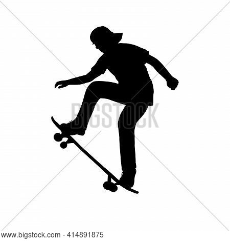 Silhouette Of Teenage Skateboarder Learning Trick On Skateboard. Illustration Graphics Icon Vector
