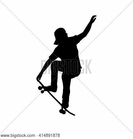 Silhouette Of Teenage Skateboarder Doing Trick On Skateboard. Illustration Graphics Icon Vector