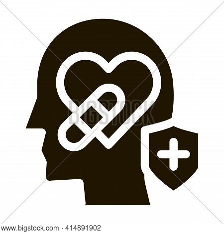 Heart And Head Treatment Glyph Icon Vector. Heart And Head Treatment Sign. Isolated Symbol Illustrat