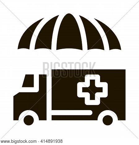 Emergency Ambulance Car Glyph Icon Vector. Emergency Ambulance Car Sign. Isolated Symbol Illustratio