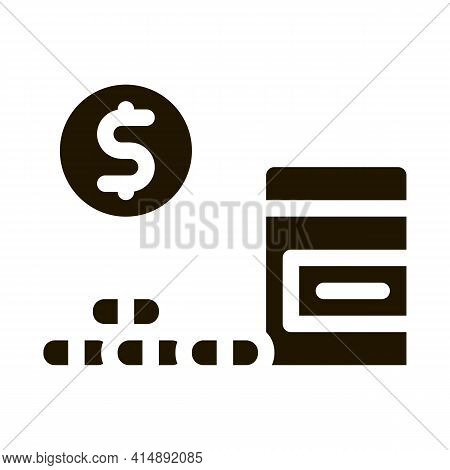 Medicaments Buy Glyph Icon Vector. Medicaments Buy Sign. Isolated Symbol Illustration