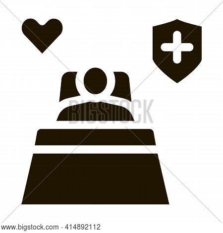 Illness Human In Hospital Ward Glyph Icon Vector. Illness Human In Hospital Ward Sign. Isolated Symb