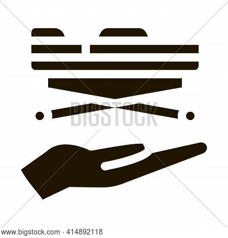 Stretcher On Hand Glyph Icon Vector. Stretcher On Hand Sign. Isolated Symbol Illustration