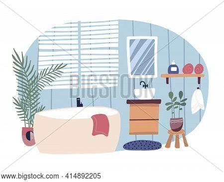 Bathroom Interior Furnished With Bathtub And Washstand. Modern Bath Tub In Cosy Room. Colorful Flat