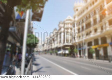 Blurred Photography Defocus European Street Of Big City On Summer Day
