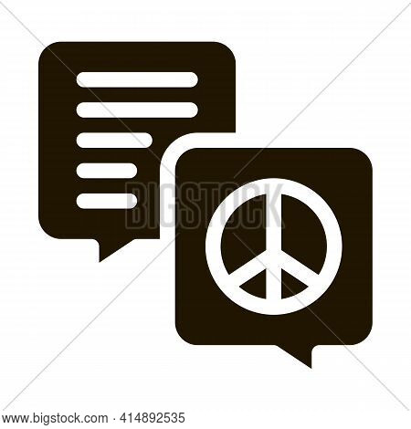 Talking About Tolerance And Peace Glyph Icon Vector. Talking About Tolerance And Peace Sign. Isolate