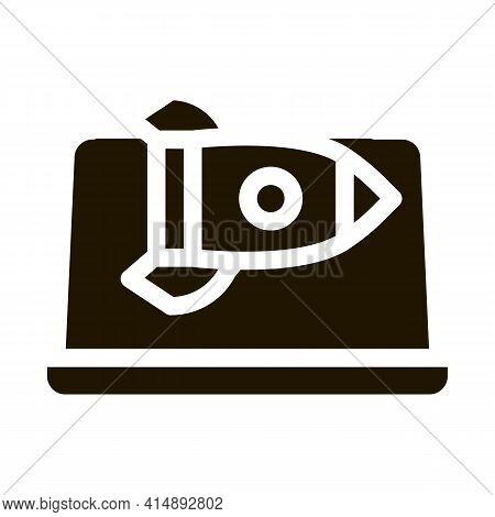 Fast Working Web Site Rocket Laptop Screen Glyph Icon Vector. Fast Working Web Site Rocket Laptop Sc