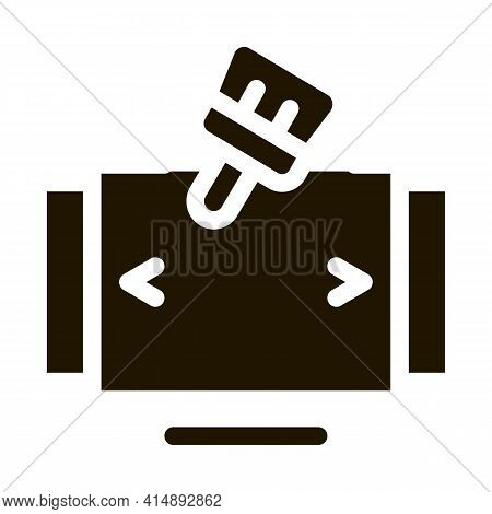 Painting And Drawing Web Site Page Glyph Icon Vector. Painting And Drawing Web Site Page Sign. Isola