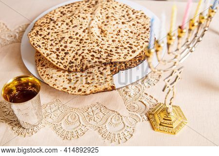 Matzah On The Table For The Passover Seder Symbols Of Judaism.