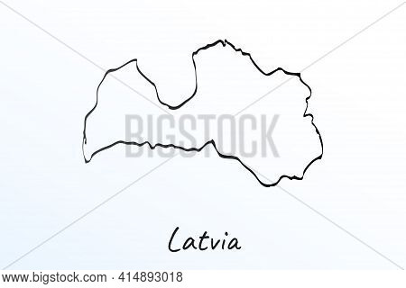 Hand Draw Map Of Latvia. Black Line Drawing Sketch. Outline Doodle On White Background. Handwriting