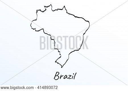 Hand Draw Map Of Brazil. Black Line Drawing Sketch. Outline Doodle On White Background. Handwriting