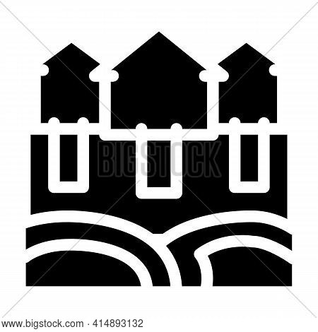 House Natural Heating Glyph Icon Vector. House Natural Heating Sign. Isolated Symbol Illustration