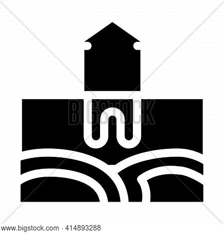 House Geothermal Heating Energy Glyph Icon Vector. House Geothermal Heating Energy Sign. Isolated Sy