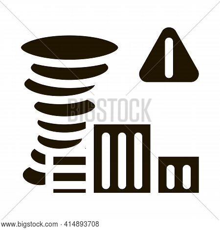 Tornado City Glyph Icon Vector. Tornado City Sign. Isolated Symbol Illustration