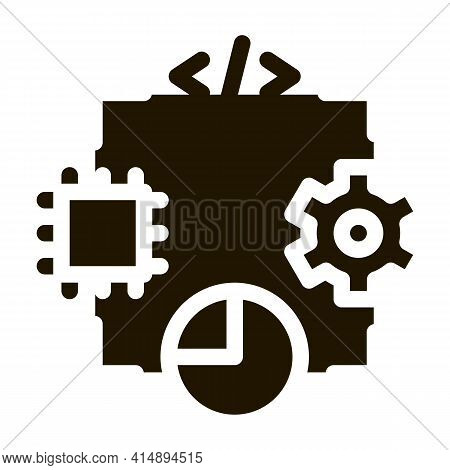 Microchip Programming Code Mechanical Gear And Infographic Glyph Icon Vector. Microchip Programming