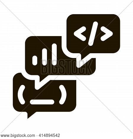 Codding Operation Programmer Discussing Glyph Icon Vector. Codding Operation Programmer Discussing S