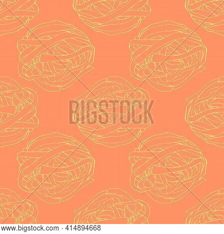Vector Seamless Pattern Of A Yellow Noodle Nest Outline On An Orange-reddish Background For A Japane