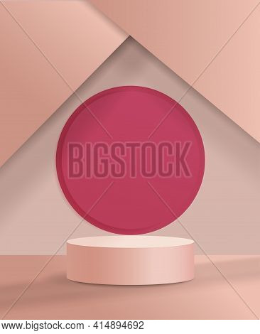 Abstract Minimal Scene With Geometrical Forms. Cylinder Podium In Cream Colors. Abstract Background.