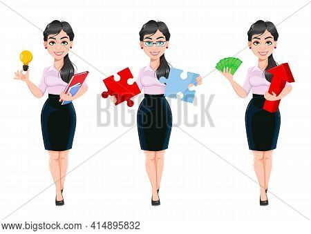 Beautiful Successful Business Woman. Lady Businesswoman Cartoon Character, Set Of Three Poses. Usabl