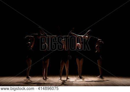 Acrobatic Dance. Dance With Elements Of Acrobatics. Girls Doing Dance Support