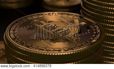 Bitcoin Crypto Currency Gold Bitcoin Btc Bitcoin. Close Up Shot Of Bitcoin Coins Isolated On Black B