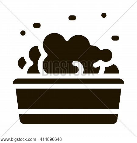 Bath With Foamy Water Glyph Icon Vector. Bath With Foamy Water Sign. Isolated Symbol Illustration