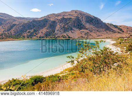 Kournas Lake On Crete Island In Summer, Greece