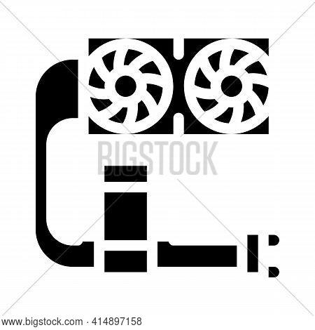 Water Cooler Computer Part Glyph Icon Vector. Water Cooler Computer Part Sign. Isolated Symbol Illus