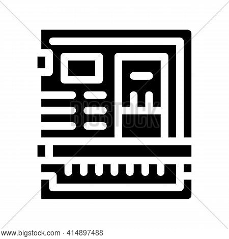 Back Of Computer System With Ports Glyph Icon Vector. Back Of Computer System With Ports Sign. Isola