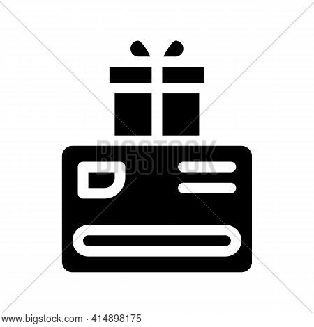 Discount Card Gift For Client Glyph Icon Vector. Discount Card Gift For Client Sign. Isolated Symbol