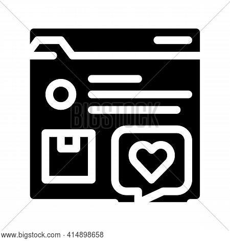 Review Internet Shop Web Site Glyph Icon Vector. Review Internet Shop Web Site Sign. Isolated Symbol