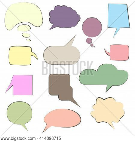 Set Of Colorful Speech Bubbles Speech Bubbles. Discussion Bubbles, Drawing Talk Bubble Set, Doodle C