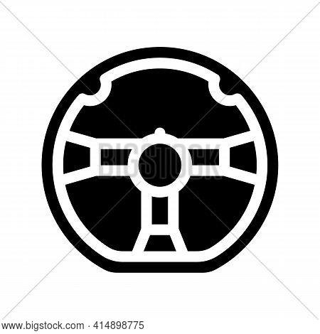 Steering Wheel Glyph Icon Vector. Steering Wheel Sign. Isolated Symbol Illustration