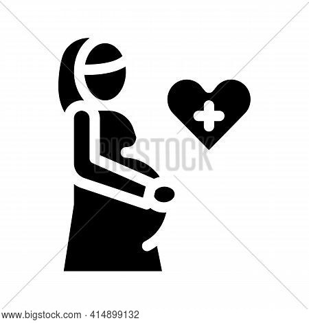 Pregnant Woman Glyph Icon Vector. Pregnant Woman Sign. Isolated Symbol Illustration