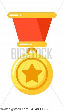 Golden Medal With Star With Ribbon, Military Insignia