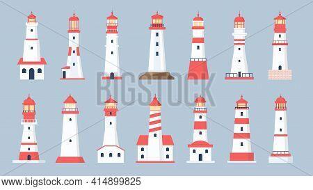 Lighthouse Towers. Cartoon Sea Beacon Design. Coastline Marine Navigation House With Beaming Searchl